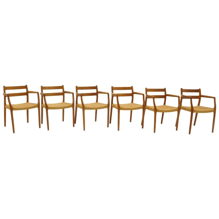 Set of Six Moller Dining Chairs, All Armchairs, Teak and Paper Cord Seats For Sale