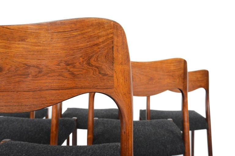 Danish Set of Six Moller Model 71 Midcentury Dining Chairs in Brazilian Rosewood