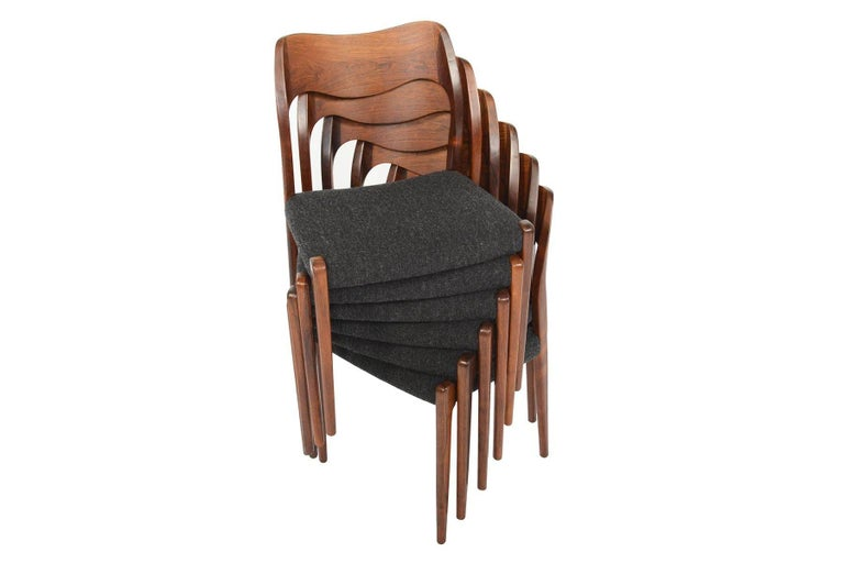 Set of Six Moller Model 71 Midcentury Dining Chairs in Brazilian Rosewood In Excellent Condition In Berkeley, CA