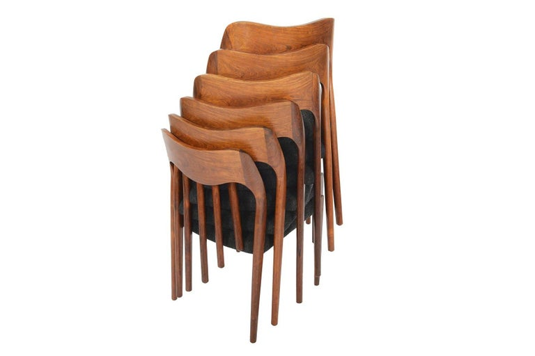 20th Century Set of Six Moller Model 71 Midcentury Dining Chairs in Brazilian Rosewood