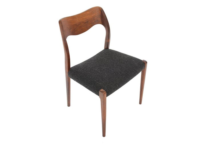 Wool Set of Six Moller Model 71 Midcentury Dining Chairs in Brazilian Rosewood
