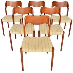 Set of Six Moller Model 71 Teak Dining Chairs