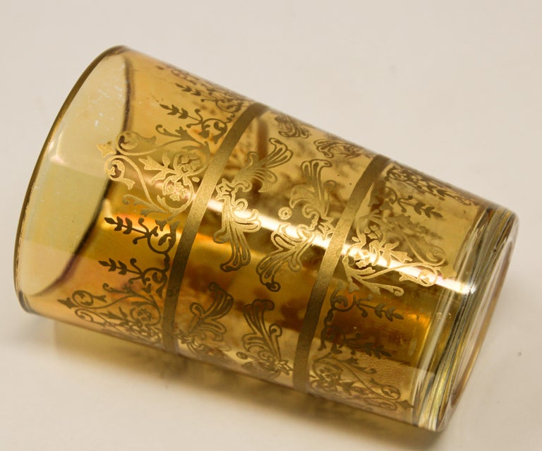 Set of Six Moorish Glasses with Amber and Gold Design For Sale 5
