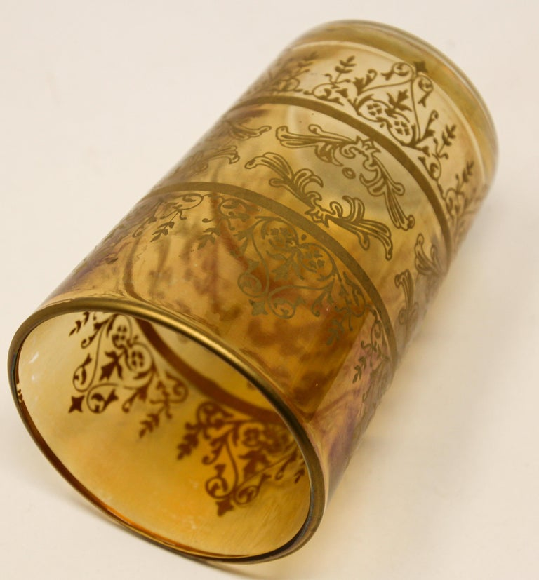 Set of Six Moorish Glasses with Amber and Gold Design For Sale 6