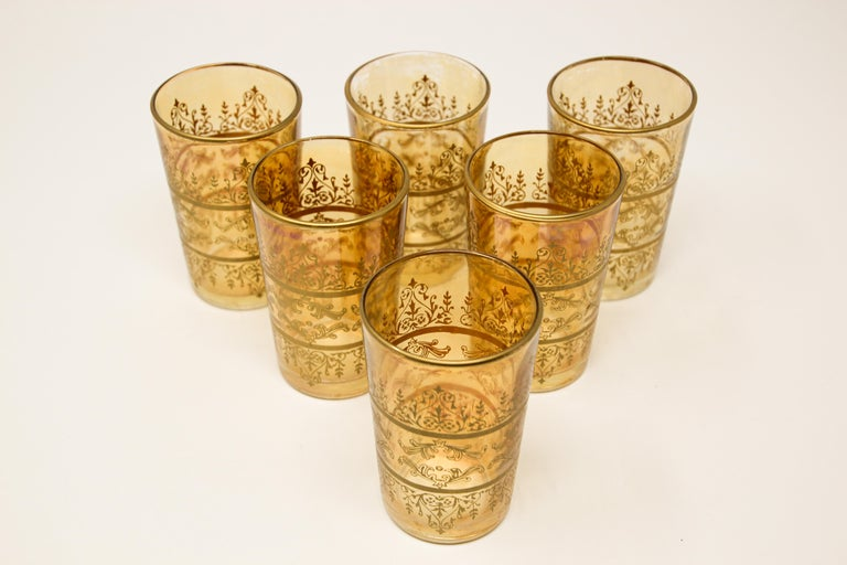 Moroccan Set of Six Moorish Glasses with Amber and Gold Design For Sale