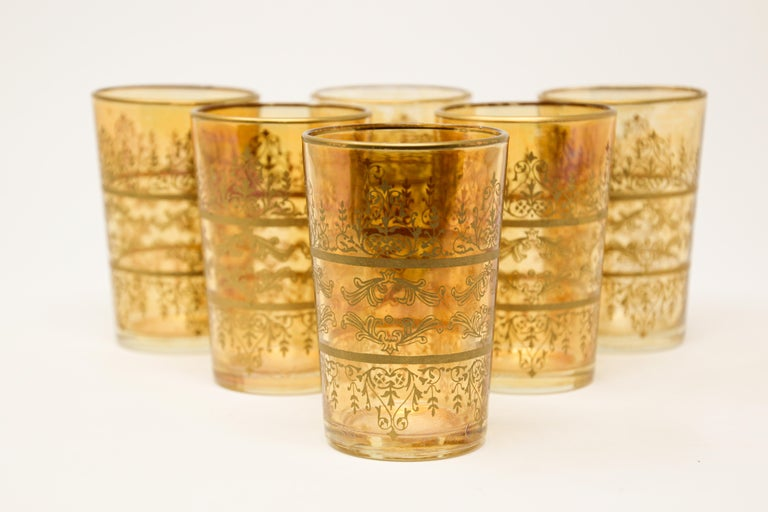 Set of Six Moorish Glasses with Amber and Gold Design In Good Condition For Sale In North Hollywood, CA