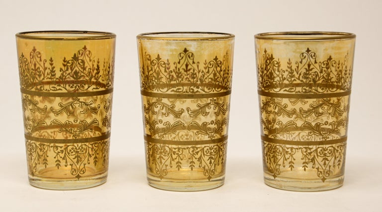 20th Century Set of Six Moorish Glasses with Amber and Gold Design For Sale