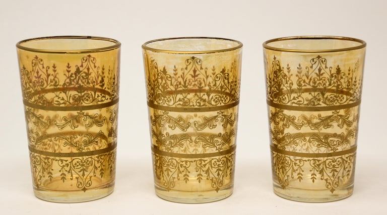 Set of Six Moorish Glasses with Amber and Gold Design For Sale 1