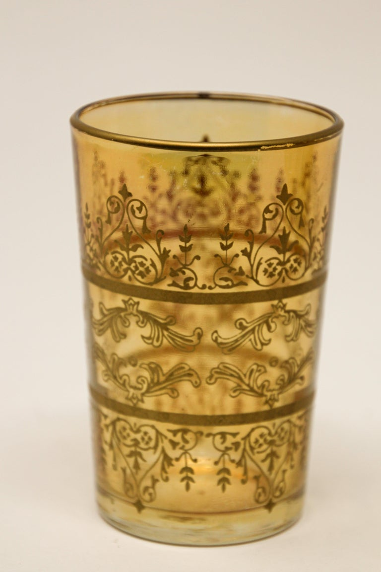 Set of Six Moorish Glasses with Amber and Gold Design For Sale 2