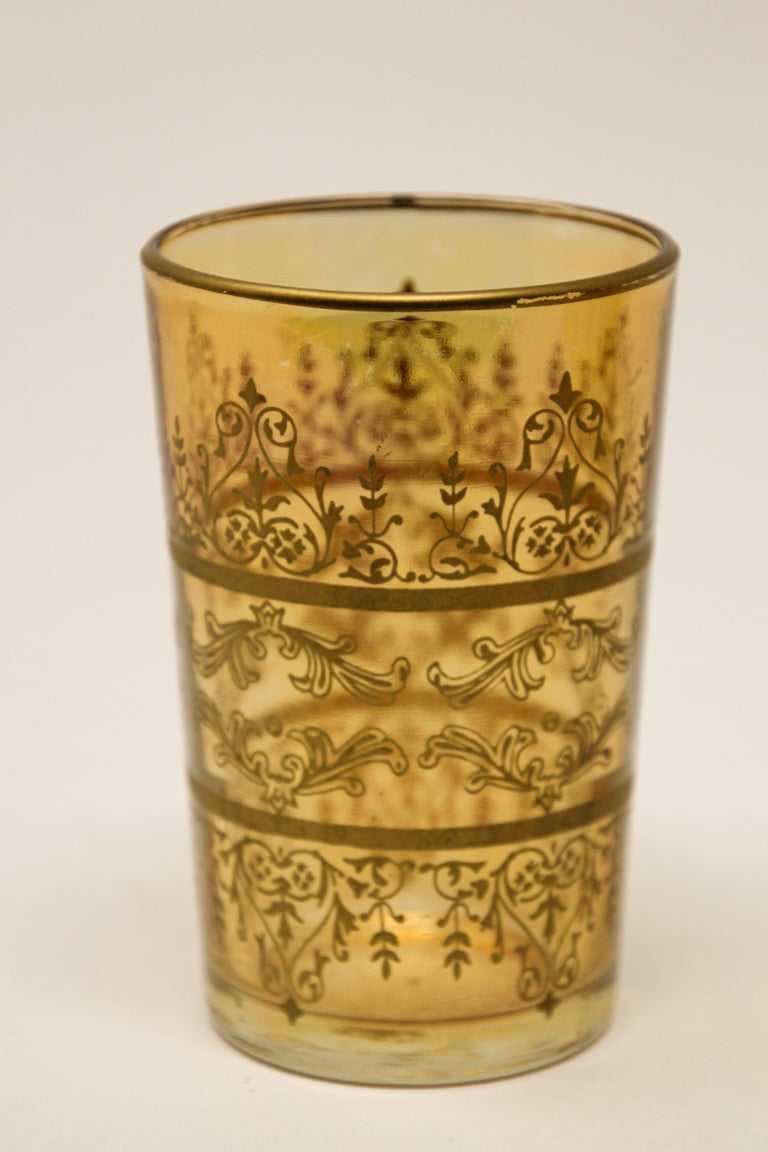 Set of Six Moorish Glasses with Amber and Gold Design For Sale 3