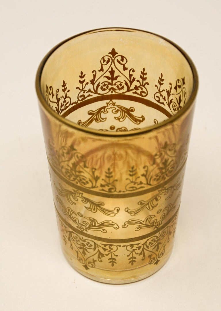 Set of Six Moorish Glasses with Amber and Gold Design For Sale 4