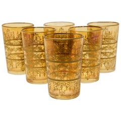 Set of Six Moorish Glasses with Amber and Gold Design
