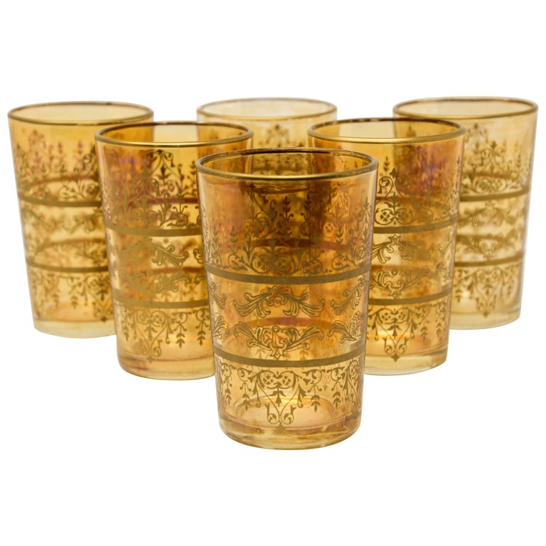 Set of Six Moorish Glasses with Amber and Gold Design For Sale