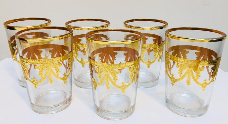 French Set of Six Moorish Glasses with Gold Raised Overlay Design For Sale