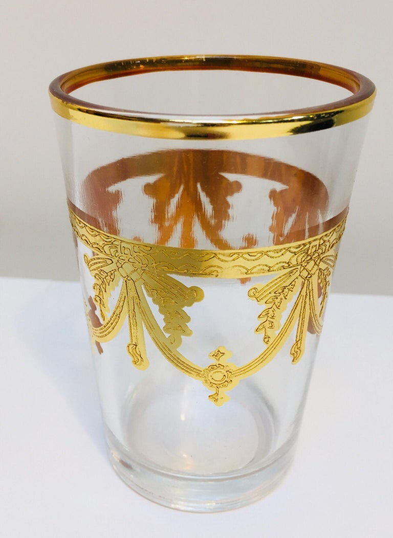 Set of Six Moorish Glasses with Gold Raised Overlay Design In Excellent Condition For Sale In North Hollywood, CA