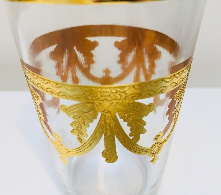 20th Century Set of Six Moorish Glasses with Gold Raised Overlay Design For Sale