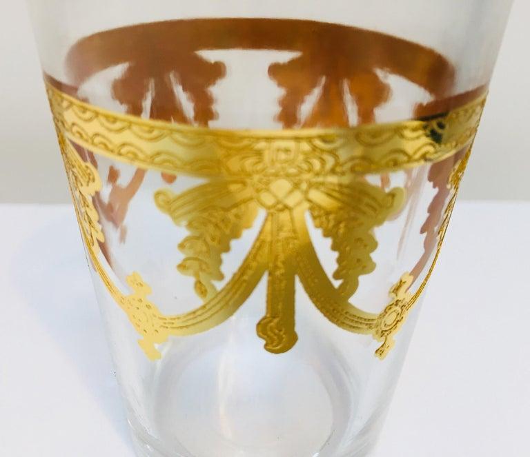 Set of Six Moorish Glasses with Gold Raised Overlay Design For Sale 1