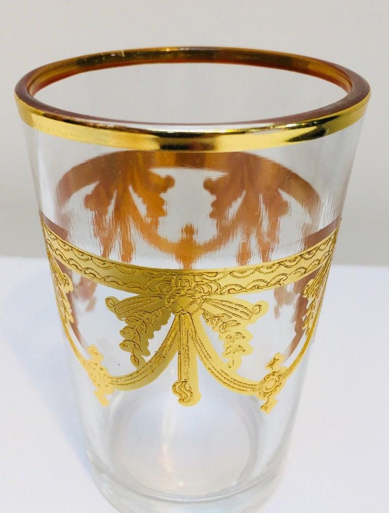 Set of Six Moorish Glasses with Gold Raised Overlay Design For Sale 2