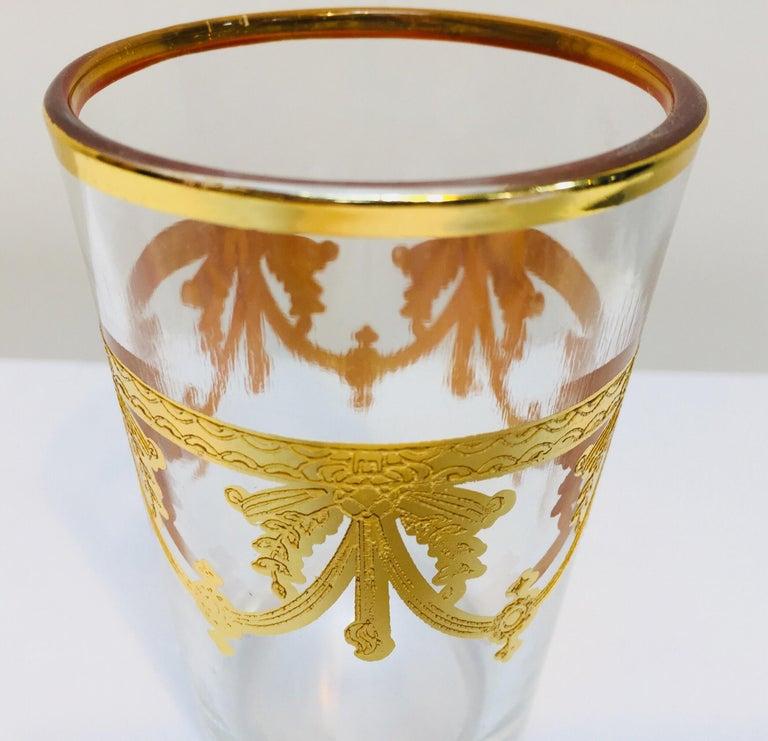 Set of Six Moorish Glasses with Gold Raised Overlay Design For Sale 3