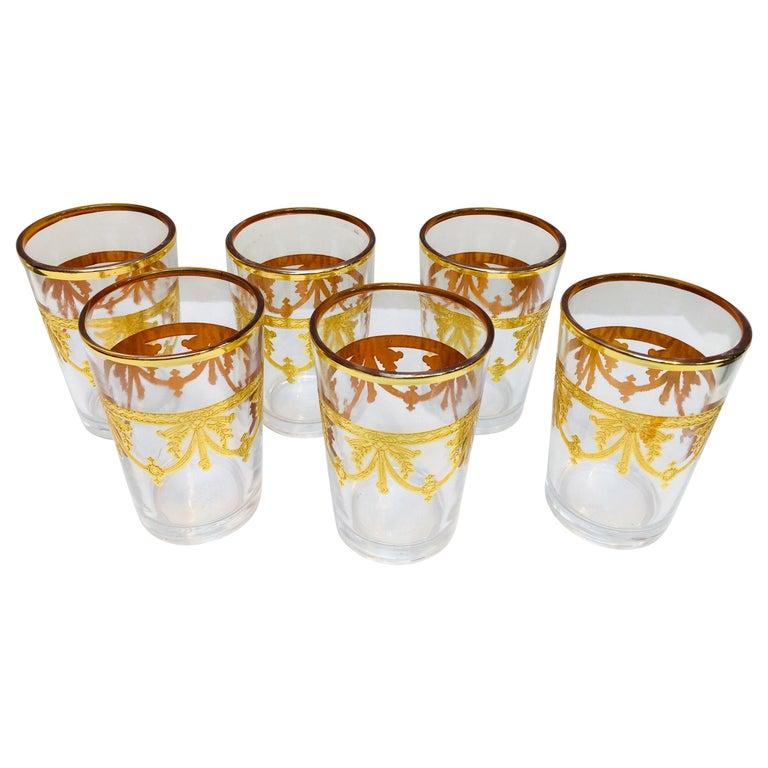 Set of Six Moorish Glasses with Gold Raised Overlay Design For Sale
