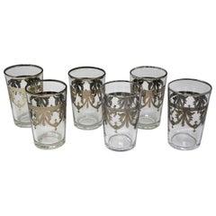 Set of Six Moorish Glasses with Silver Raised Overlay Design