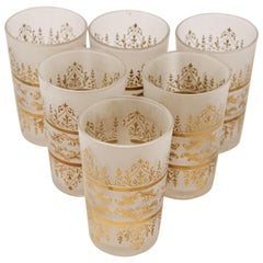 Set of Six Moorish White Frosted and Gold Glasses