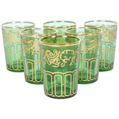 Set of Six Moroccan Green and Gold Moorish Glasses