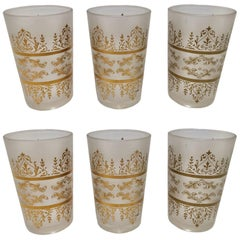 Set of Six Moroccan White Frosted and Gold Glasses