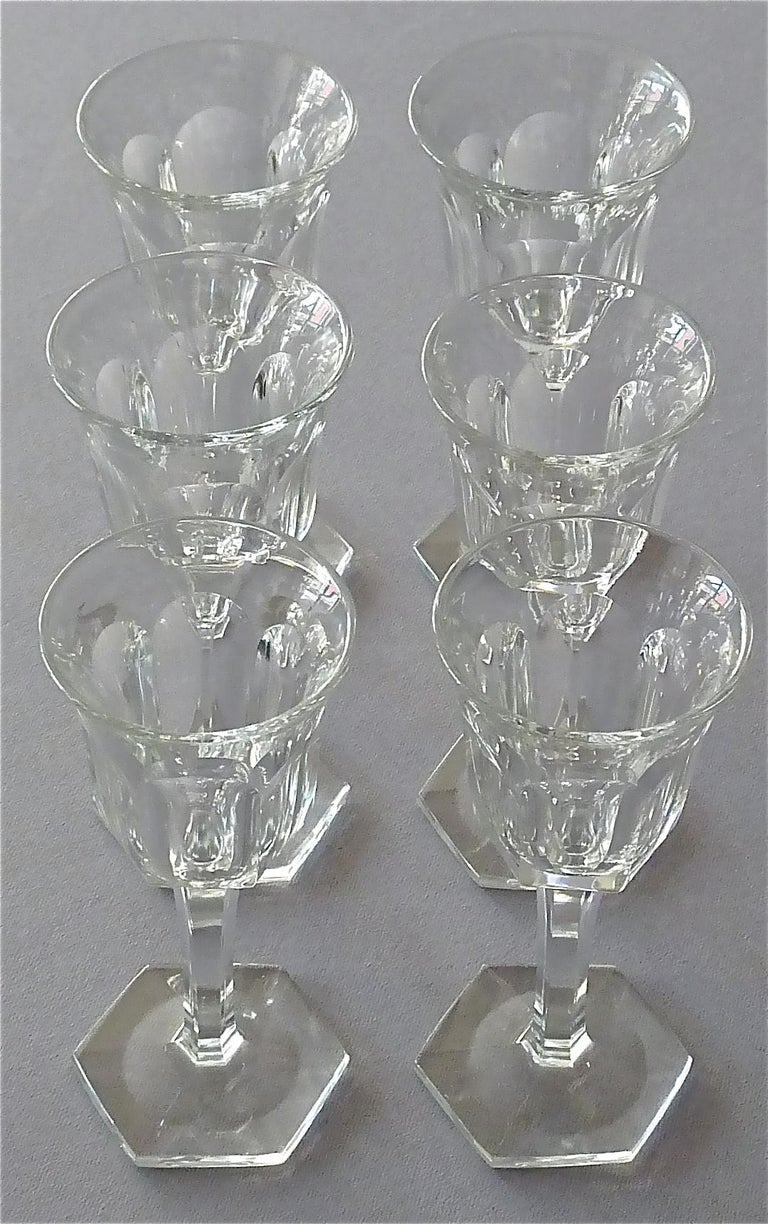 Set of Six Moser Art Deco Faceted Crystal Cut Liquor Glasses 1920 Baccarat Style For Sale 5