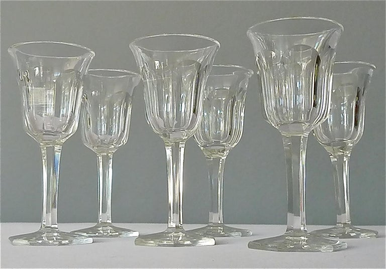 Set of Six Moser Art Deco Faceted Crystal Cut Liquor Glasses 1920 Baccarat Style For Sale 6