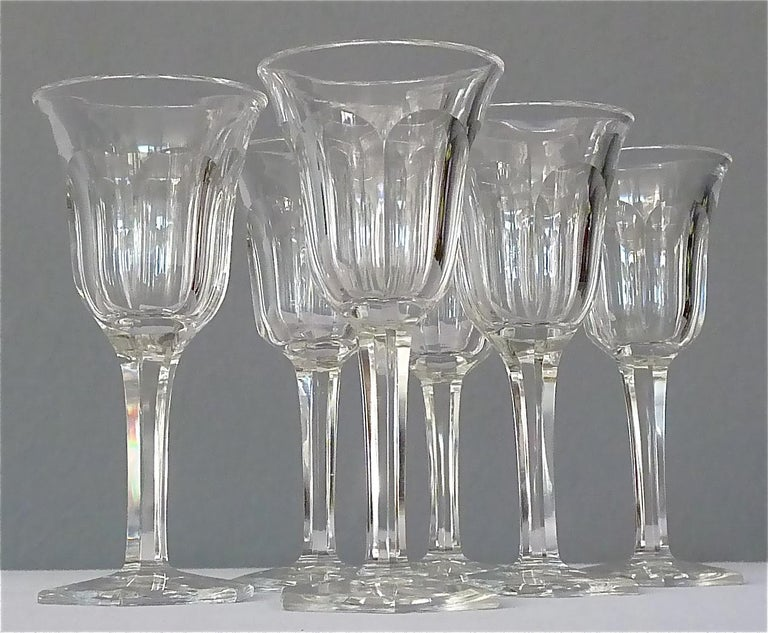 Beautiful set of six faceted crystal liquor glasses made by Moser, Austria, circa 1920. The precious Art Deco glasses are hand-cut and have a hexagonal stand. They stay in very good original condition with no defects or later alterations. They are
