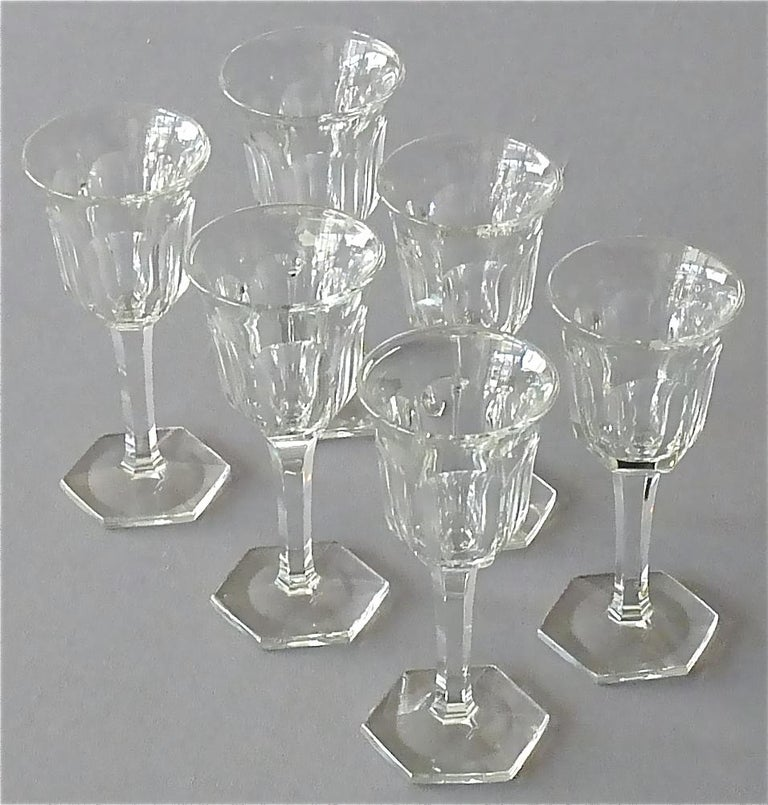 Set of Six Moser Art Deco Faceted Crystal Cut Liquor Glasses 1920 Baccarat Style For Sale 4