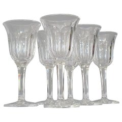 Set of Six Moser Art Deco Faceted Crystal Cut Liquor Glasses 1920 Baccarat Style