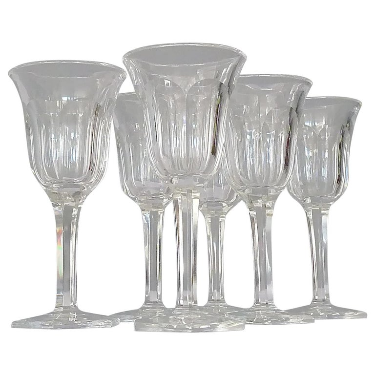Set of Six Moser Art Deco Faceted Crystal Cut Liquor Glasses 1920 Baccarat Style For Sale