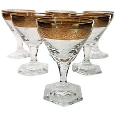 Set of Six Moser Clear Crystal Liquor Glasses with Gilded and Etched Band