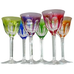 Set of Six Moser Crystal Cut Wine Glasses Stemware Saint Louis Baccarat Style