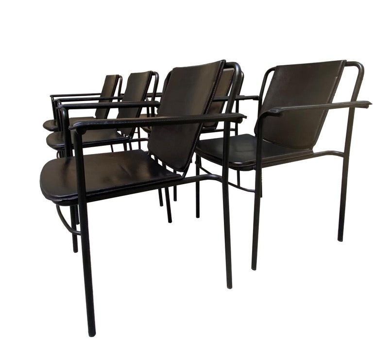 Mid-Century Modern Set of Six 'Movie' Chairs by Mario Marenco for Poltrona Frau For Sale