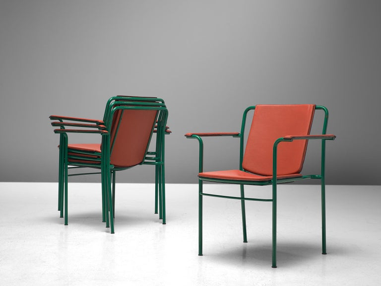 Post-Modern Set of Six 'Movie' Chairs by Mario Marenco for Poltrona Frau For Sale