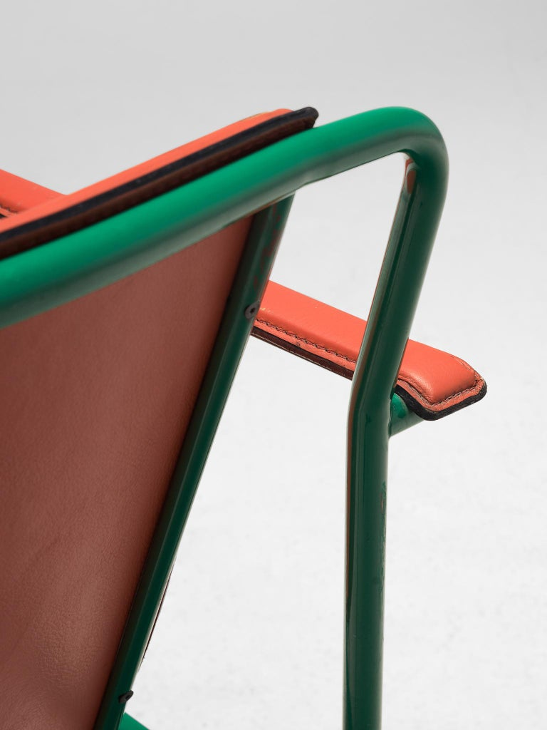 Leather Set of Six 'Movie' Chairs by Mario Marenco for Poltrona Frau For Sale