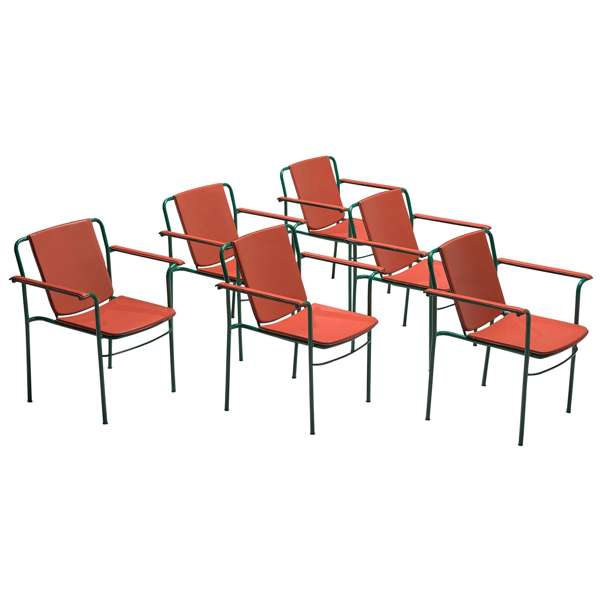 Set of Six 'Movie' Chairs by Mario Marenco for Poltrona Frau