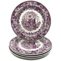 Set of Six Mulberry Purple Wedgwood Ferrara Plates