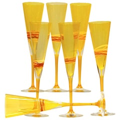 Set of Six Murano Flutes, Uramium Yellow Cenedese, 1960 Signed and Labelled