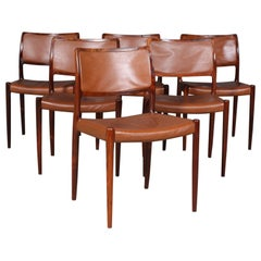 Set of six N. O. Møller dining chairs, rosewood and leather. 1960's Denmark.