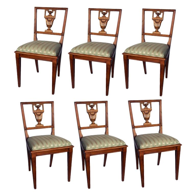 Set of Six Neoclassical Style Dining Chairs Italian