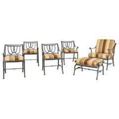 Set of Six Neoclassical Style Garden Armchairs with Ottoman