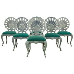 Set of Six Neoclassical Style Grotto Clamshell Garden Chairs