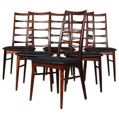 "Set of Six Niels Koefoed Dining Chairs, Model ""Lis"", Rosewood, 1960s"