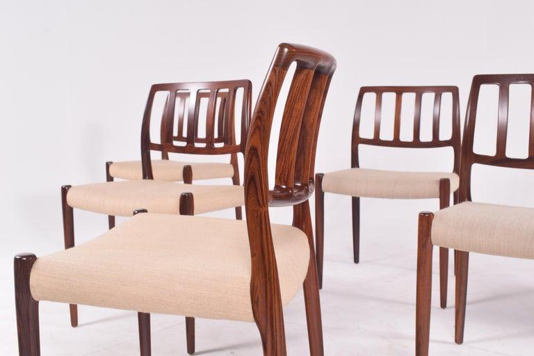 "Set of Six Niels Møller ""Model 83"" Rosewood Dining Chairs for J.L. Møller 4"