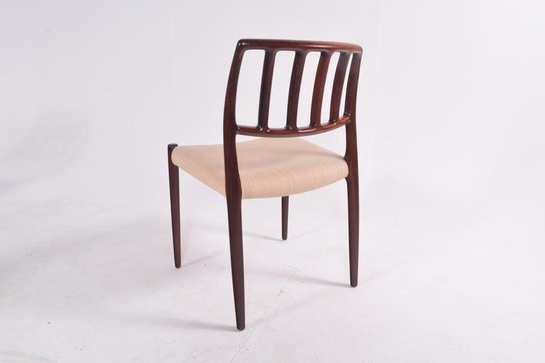 "Set of Six Niels Møller ""Model 83"" Rosewood Dining Chairs for J.L. Møller 6"