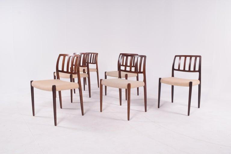"""Mid-Century Modern Set of Six Niels Møller """"Model 83"""" Rosewood Dining Chairs for J.L. Møller"""